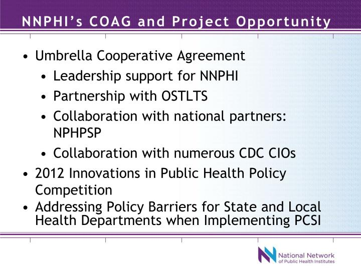 NNPHI's COAG and Project Opportunity