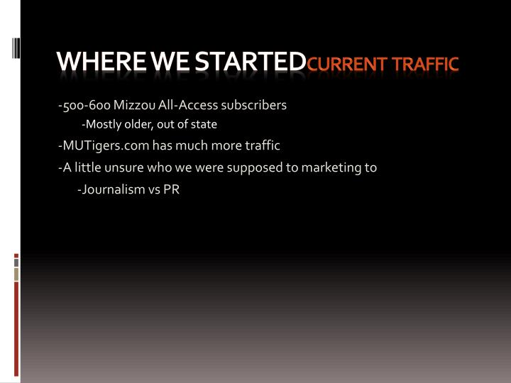 Where we started current traffic