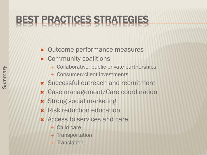 Outcome performance measures