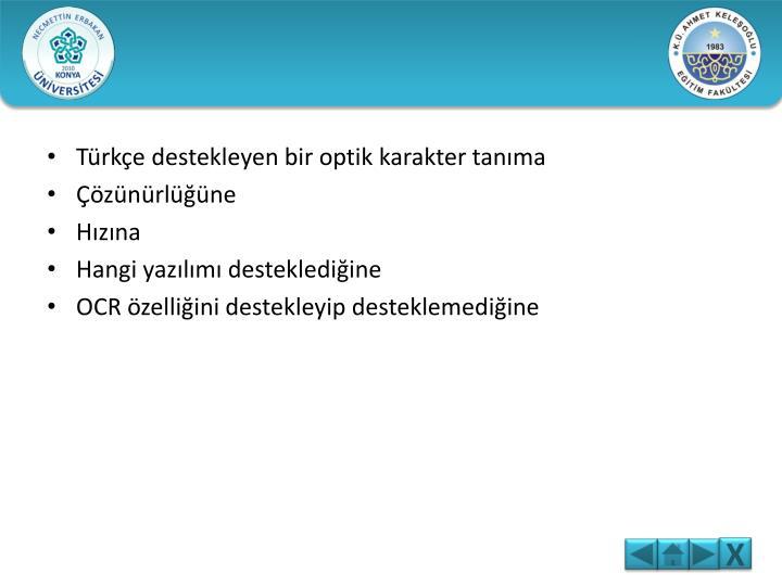 Türkçe destekleyen bir optik karakter tanıma