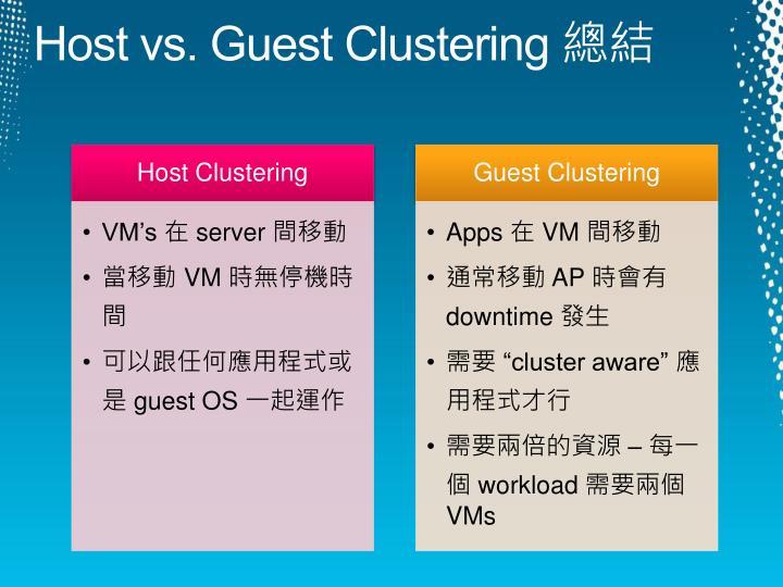 Host vs. Guest Clustering
