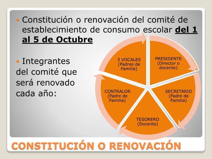 Constitución o renovación del comité de establecimiento de consumo escolar