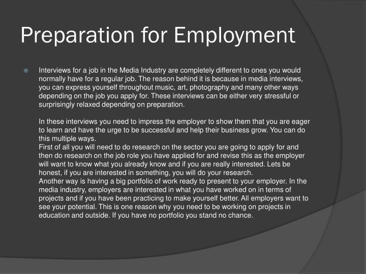 Preparation for Employment