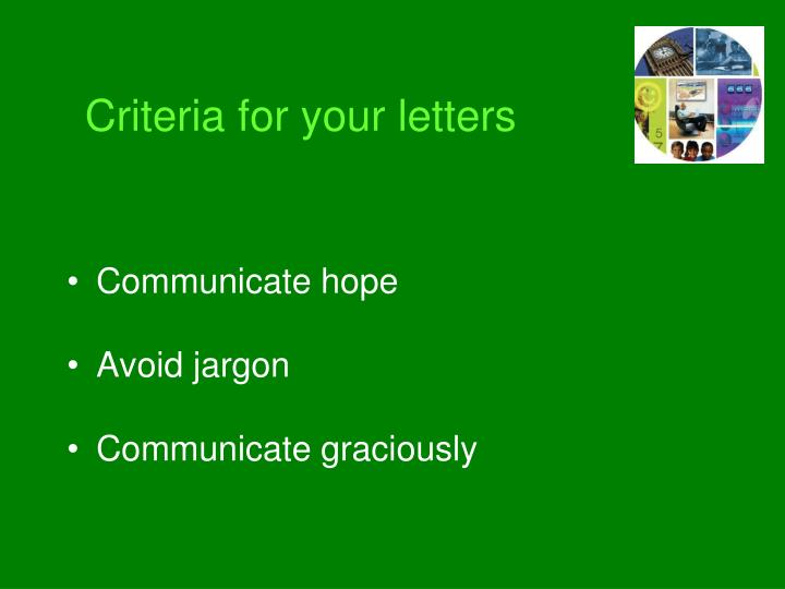 Criteria for your letters