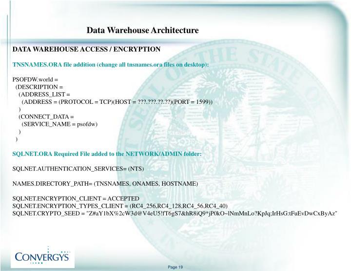 DATA WAREHOUSE ACCESS / ENCRYPTION
