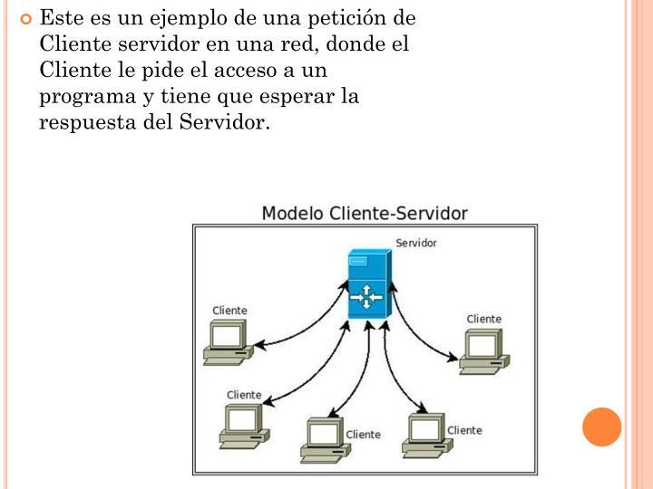 Este es un ejemplo de una petición de Cliente servidor en una red, donde el Cliente le pide el acceso a un programa y tiene que esperar la respuesta del Servidor.