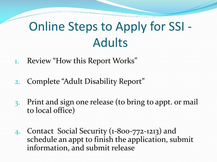 Online Steps to Apply for SSI - Adults