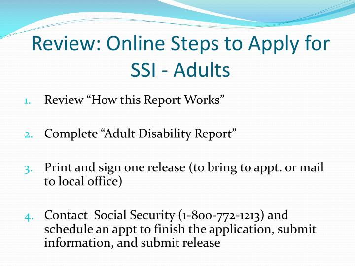 Review: Online Steps to Apply for SSI - Adults