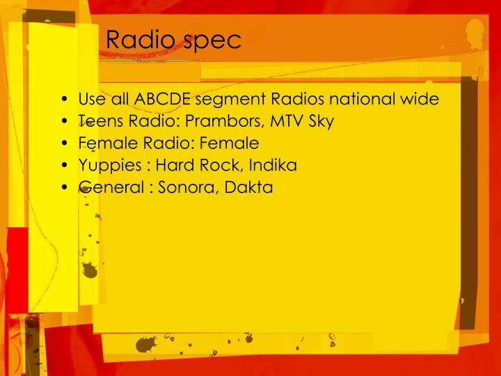 Radio spec