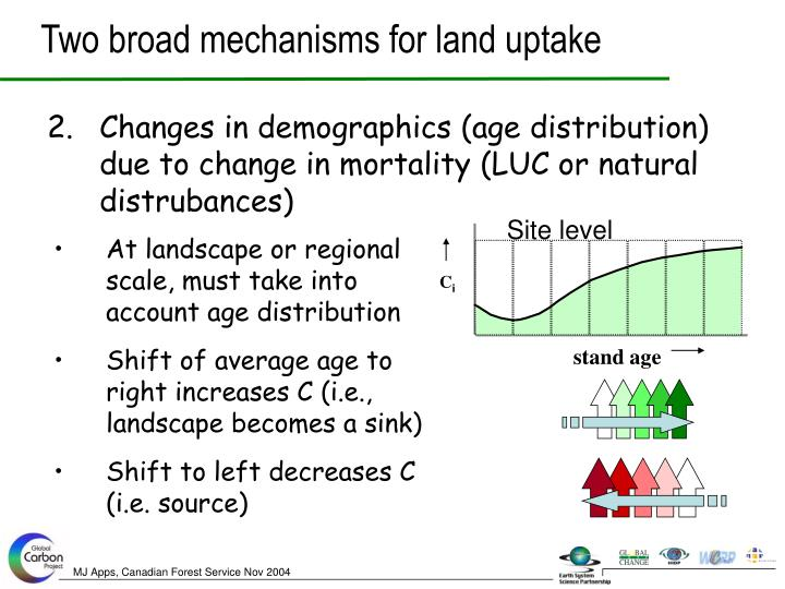 Two broad mechanisms for land uptake