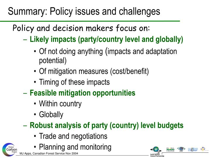 Summary: Policy issues and challenges