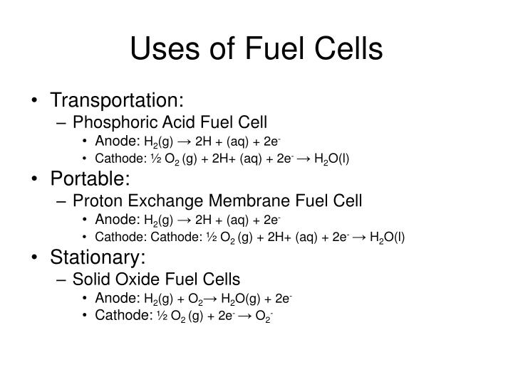 Uses of fuel cells