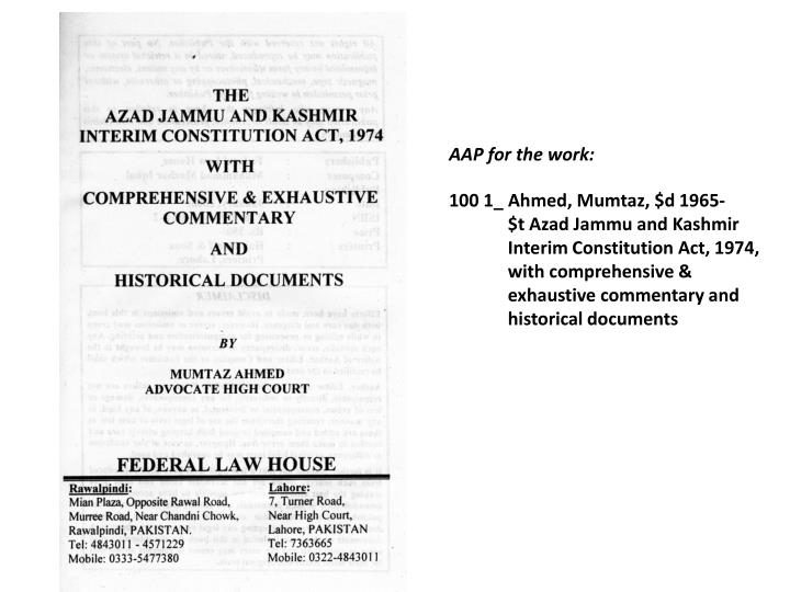 AAP for the work: