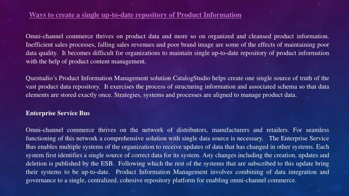 Ways to create a single up-to-date repository of Product Information