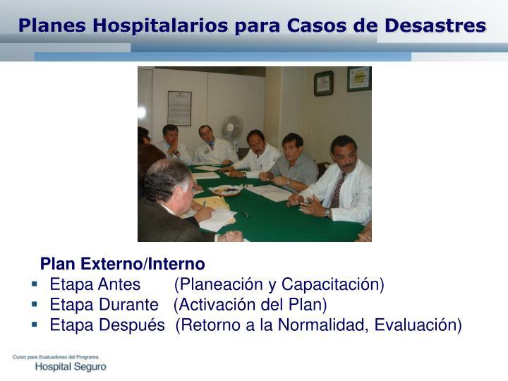 Planes Hospitalarios para Casos de Desastres