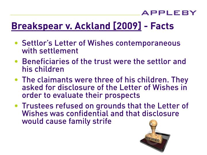 Breakspear v. Ackland [2009]