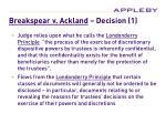 breakspear v ackland decision 1