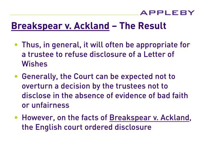 Breakspear v. Ackland