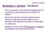 breakspear v ackland the result