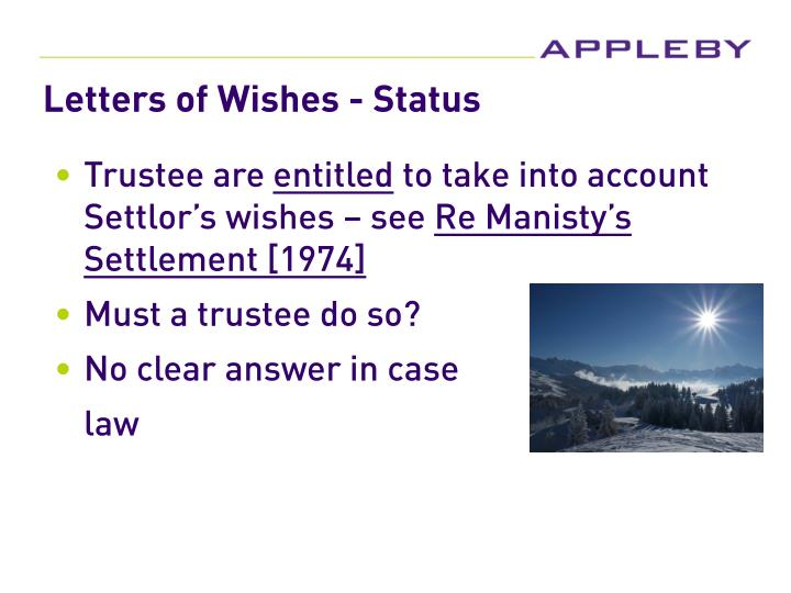 Letters of Wishes - Status