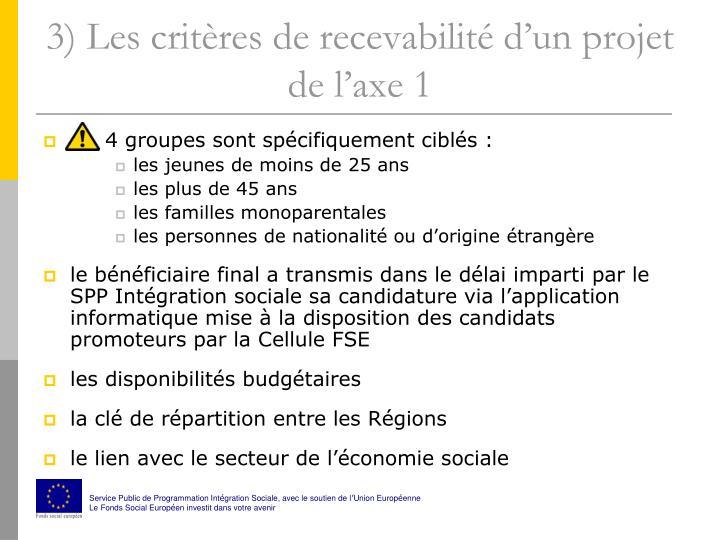 3) Les critères de recevabilité d'un projet de l'axe 1