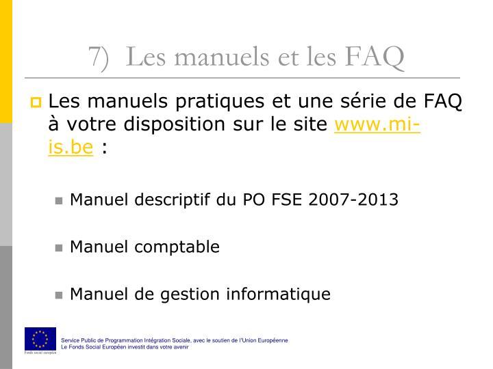 7)  Les manuels et les FAQ