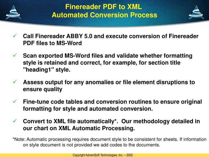Finereader PDF to XML
