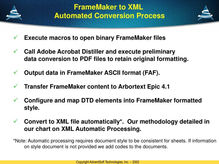 FrameMaker to XML