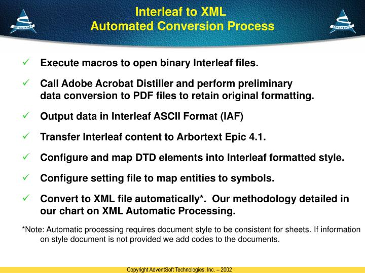 Interleaf to XML