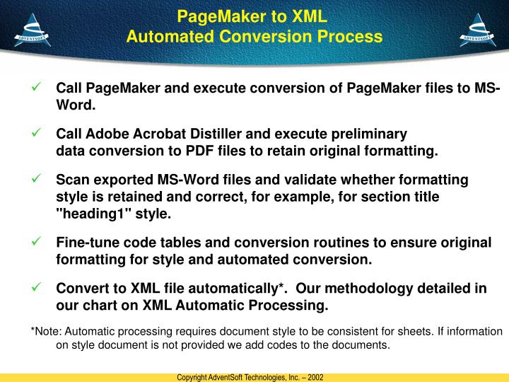 PageMaker to XML
