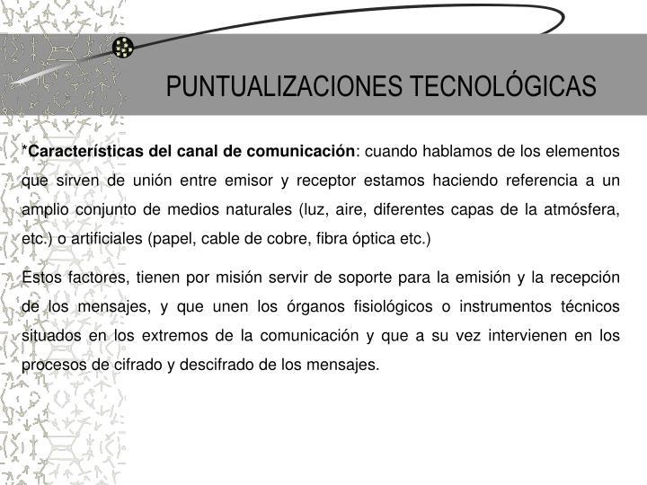 PUNTUALIZACIONES TECNOLÓGICAS