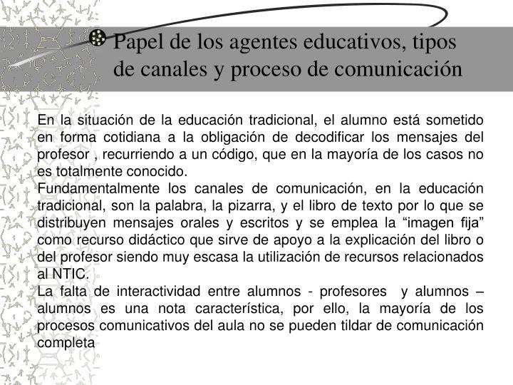 Papel de los agentes educativos, tipos de canales y proceso de comunicación
