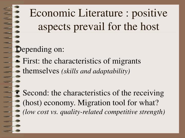 Economic Literature : positive aspects prevail for the host