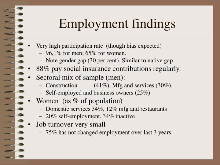 Employment findings
