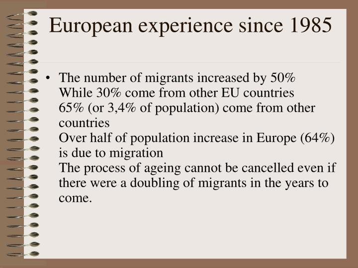 European experience since 1985