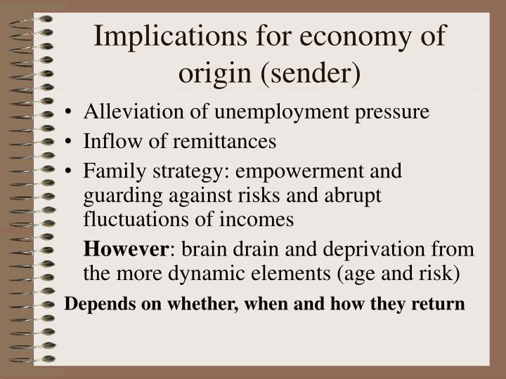 Implications for economy of origin (sender)