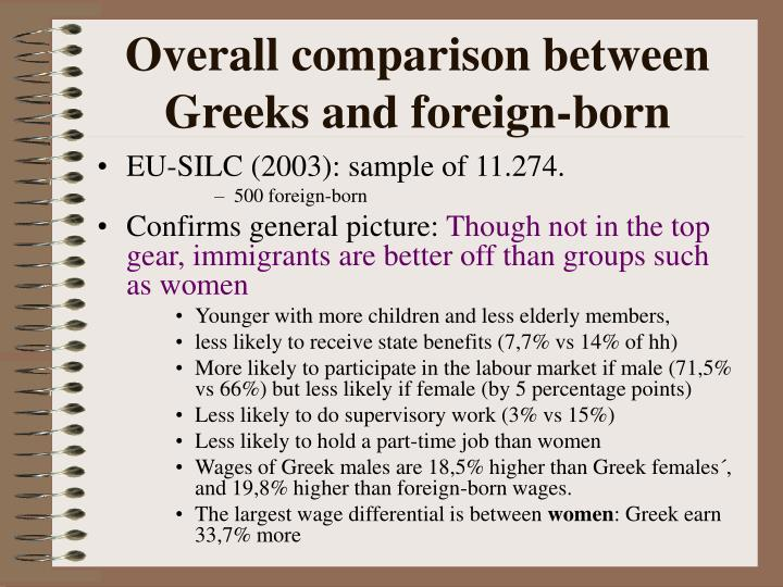 Overall comparison between Greeks and foreign-born