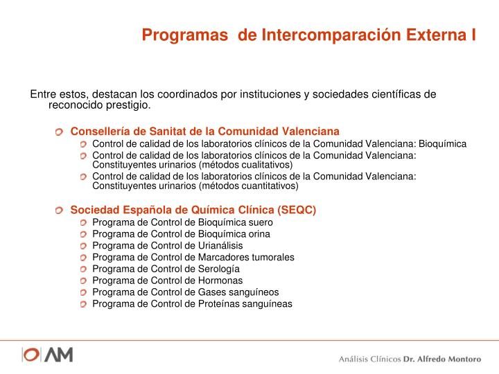 Programas  de Intercomparación Externa I