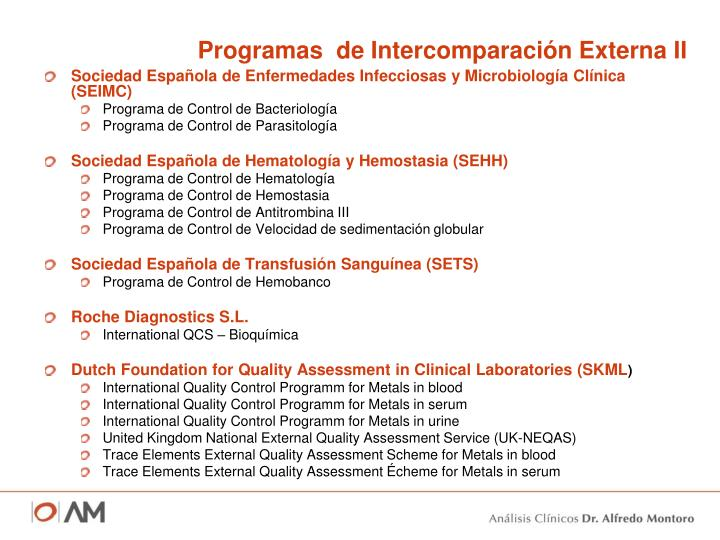 Programas  de Intercomparación Externa II