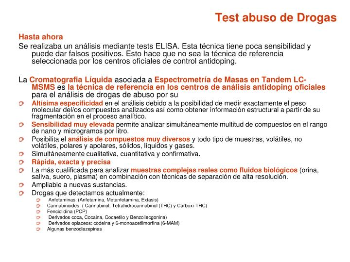 Test abuso de Drogas