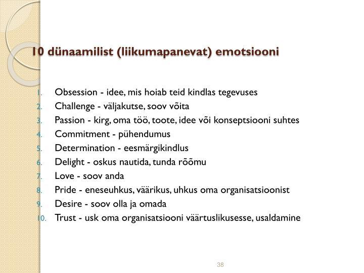 10 dünaamilist (liikumapanevat) emotsiooni