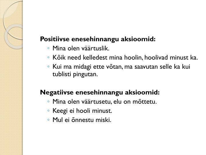 Positiivse enesehinnangu aksioomid: