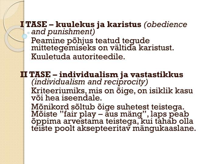 I TASE – kuulekus ja karistus