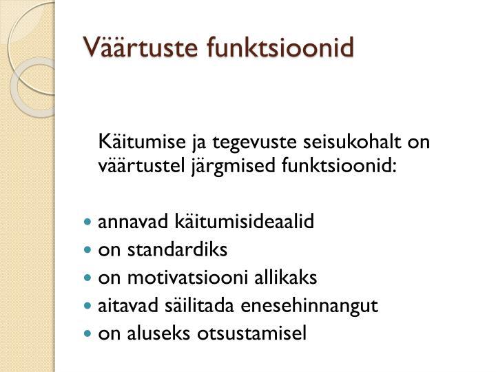 Väärtuste funktsioonid