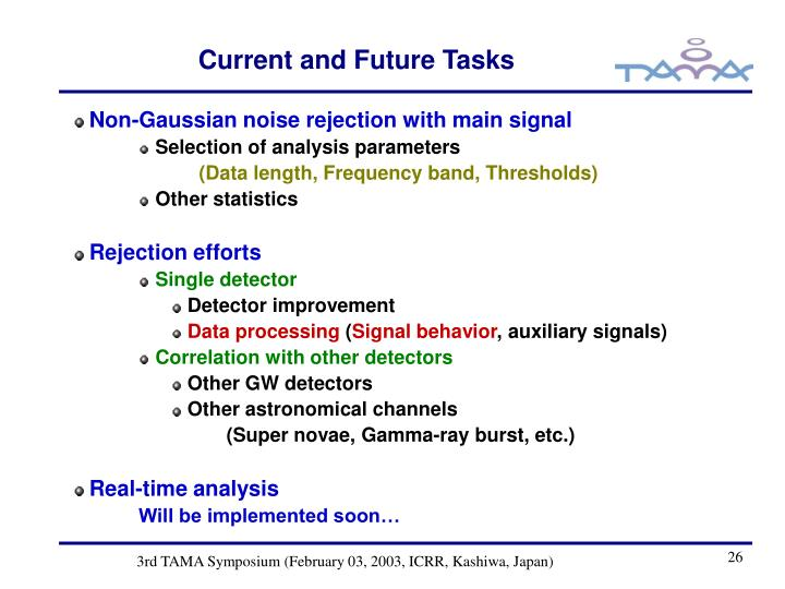 Current and Future Tasks