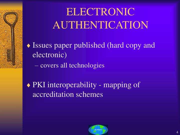 ELECTRONIC AUTHENTICATION