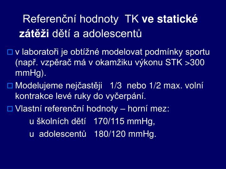 Referenční hodnoty  TK