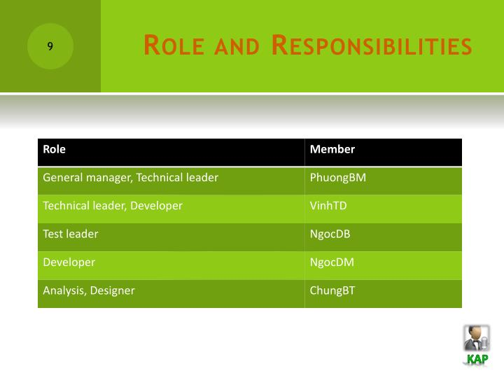Role and Responsibilities