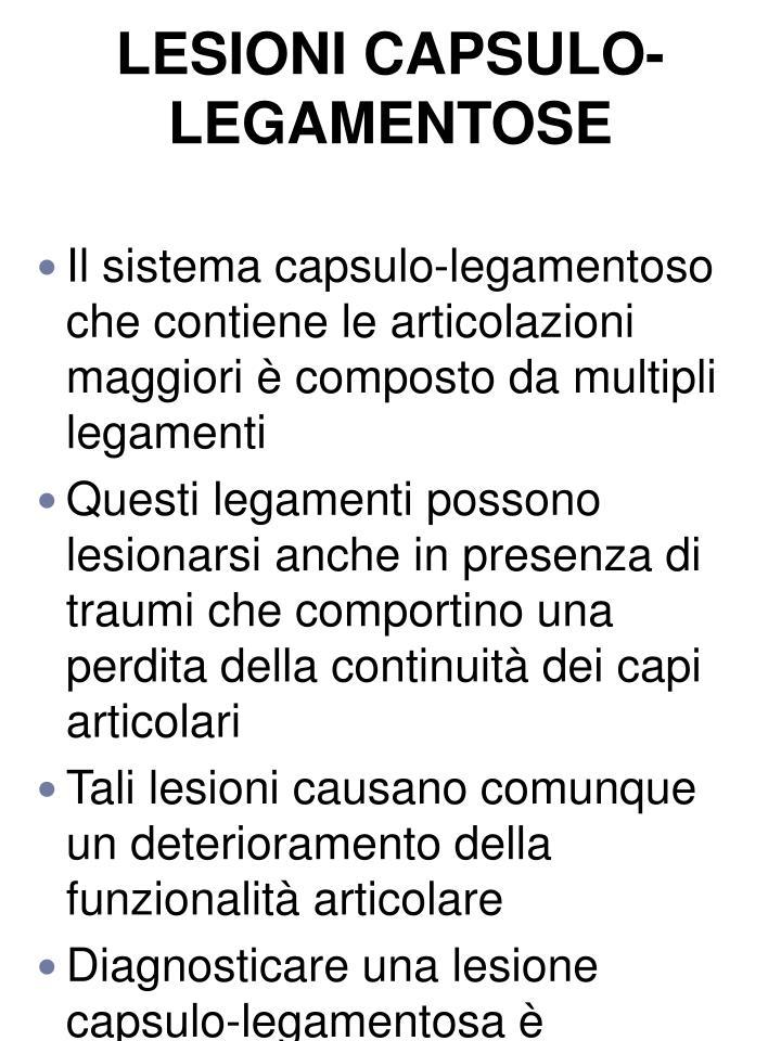 LESIONI CAPSULO-LEGAMENTOSE