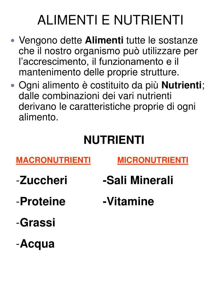 ALIMENTI E NUTRIENTI
